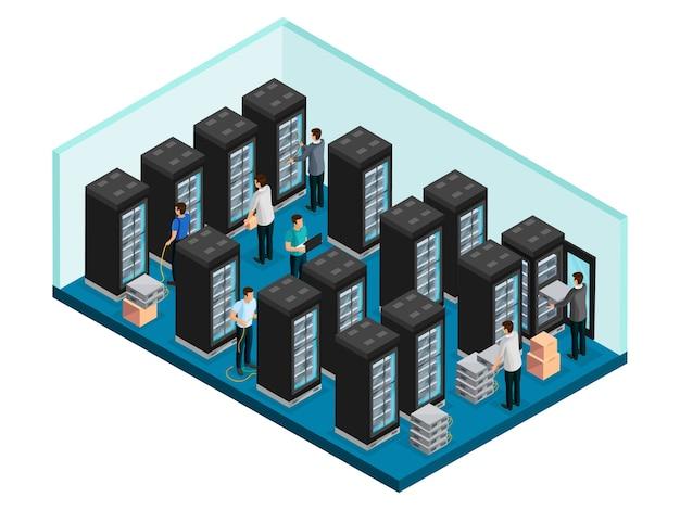 Isometrisch datacenterconcept met ingenieurs in gegevensbeveiligingsserverruimte voor geïsoleerde reparatie en onderhoud van apparatuur