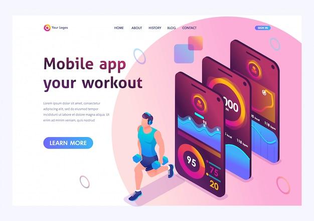 Isometrisch de mobiele app volgt de training van een persoon. de atleet traint de belangrijkste spiergroepen.