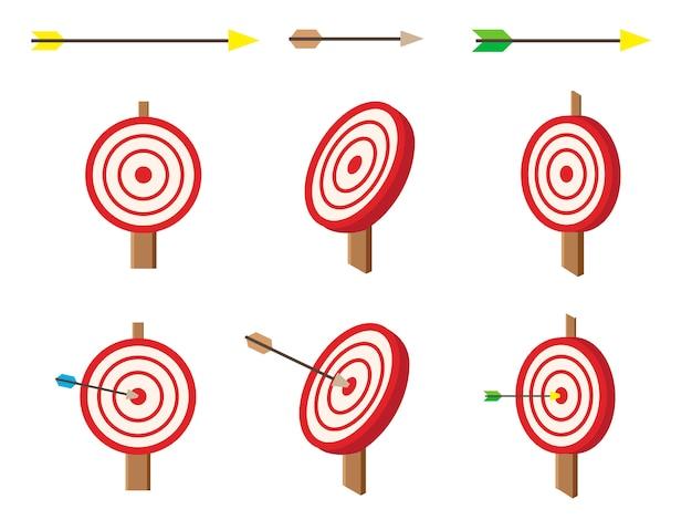 Isometrisch doelwit met pijlen ingesteld