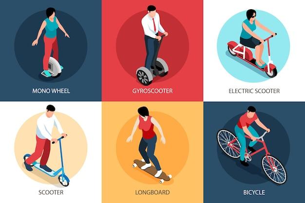 Isometrisch eco-transportontwerpconcept met bewerkbare tekstbijschriften en menselijke karakters op scooters en fietsen