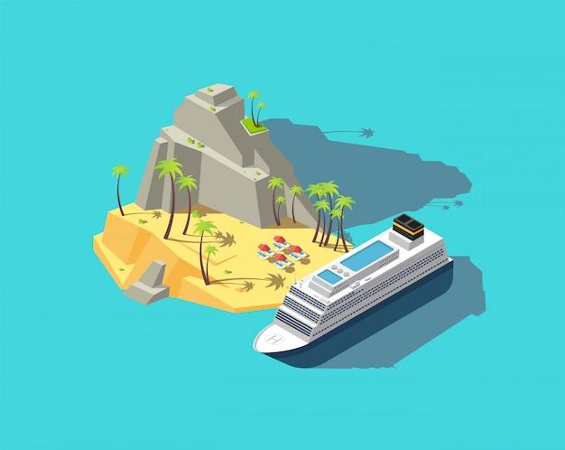 Isometrisch eiland. paradijs in de oceaan.