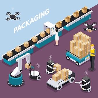 Isometrisch en gekleurd slim de industrieconcept met verpakkingsstap bij de fabrieks vectorillustratie
