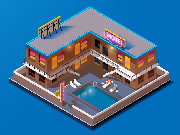 Isometrisch gebouw. motel met zwembad.