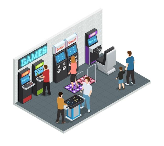 Isometrisch geïsoleerd en gekleurd spelclub binnenlands concept met het spelen van mensen in één ruimte vectorillustratie