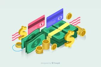 Isometrisch geld in plat ontwerp