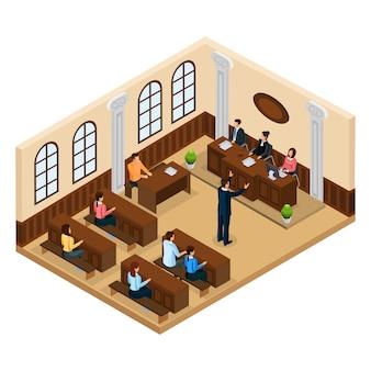 Isometrisch gerechtelijk systeemconcept met advocaat die zijn cliënt in geïsoleerde rechtszaal verdedigt