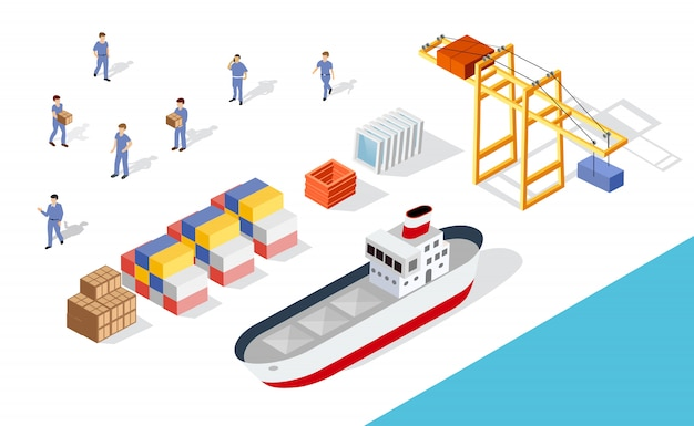 Isometrisch havenvrachtschip