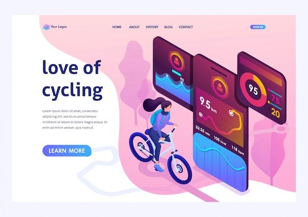 Isometrisch helder ontwerpconcept zoals fietsen
