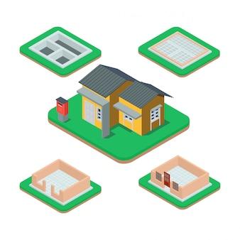 Isometrisch huis bouwproces.