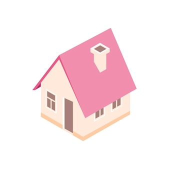 Isometrisch huis in abstracte vlakke stijl. 3d illustratie