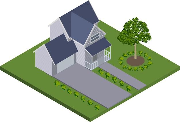 Isometrisch huis met boom