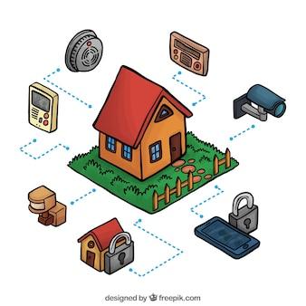Isometrisch huis met verschillende beveiligingssystemen