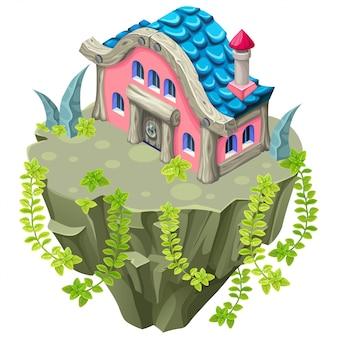 Isometrisch huis op stenen eiland