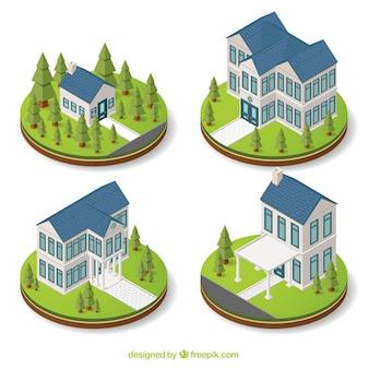 Isometrisch huizen met decoratieve bomen