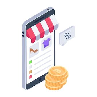 Isometrisch icoon van online producten in moderne stijl