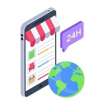 Isometrisch icoon van wereldwijd winkelen