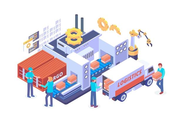 Isometrisch industrieel logistiek leveringsconcept