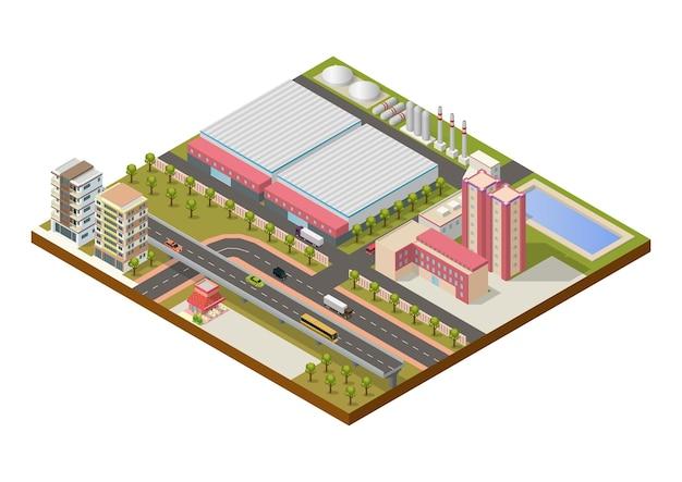 Isometrisch industriegebied met gebouwen en snelweg