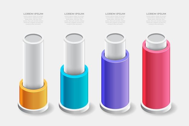 Isometrisch infographic ontwerp met tekstruimte