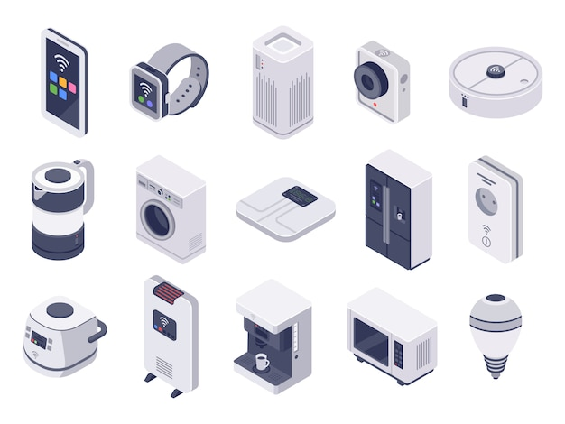 Isometrisch internet van dingen apparaten. slim horloge, huishoudelijke apparaten en draadloze gecontroleerde microgolfillustratieset