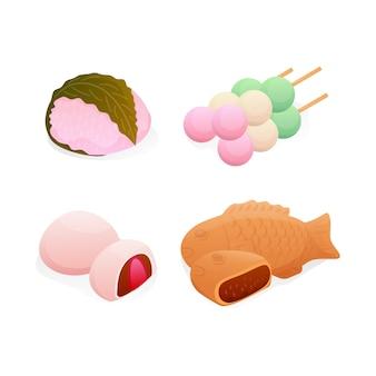 Isometrisch japans zoet dessert instellen