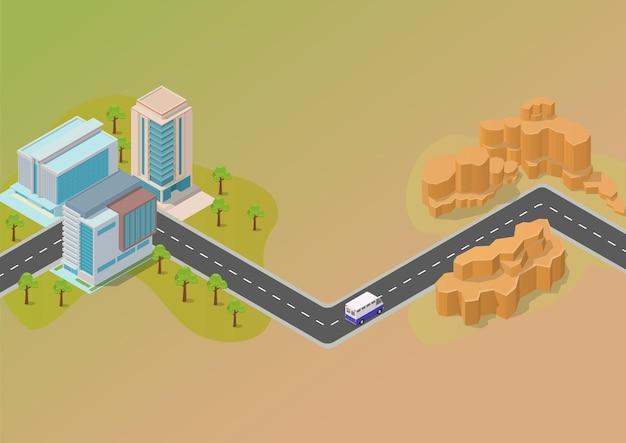 Isometrisch kaartconcept met wegstad en woestijn