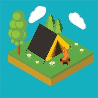 Isometrisch kamp, vlakke 3d isometrische pixelart. illustratie.