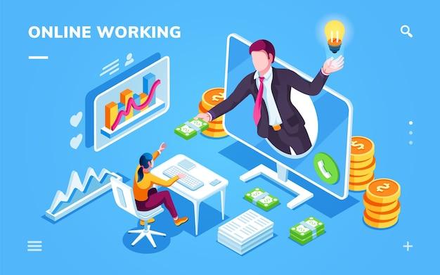 Isometrisch kantoor met freelancer die geld neemt