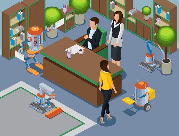 Isometrisch kantoor van toekomstig concept met mechanische bedrijfsassistenten en robots die tapijtgietinstallatie schoonmaken, bracht brieven