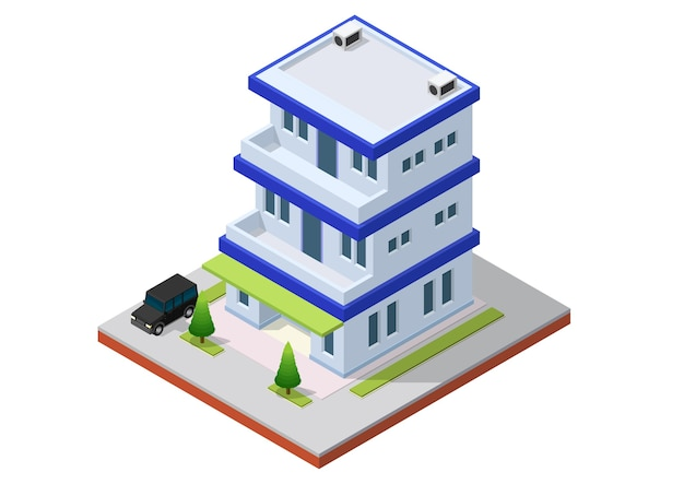 Isometrisch kantoorgebouw met auto. commerciële kantoorgebouw geïsoleerde illustratie