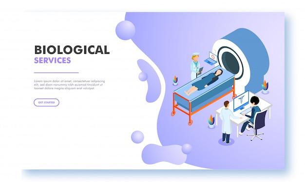 Isometrisch karakter van de arts scannen van het hele lichaam