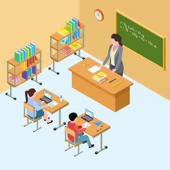 Isometrisch klaslokaal met leraar en kinderen