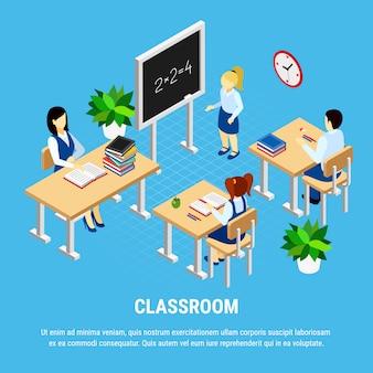 Isometrisch klaslokaal met studenten en leraar