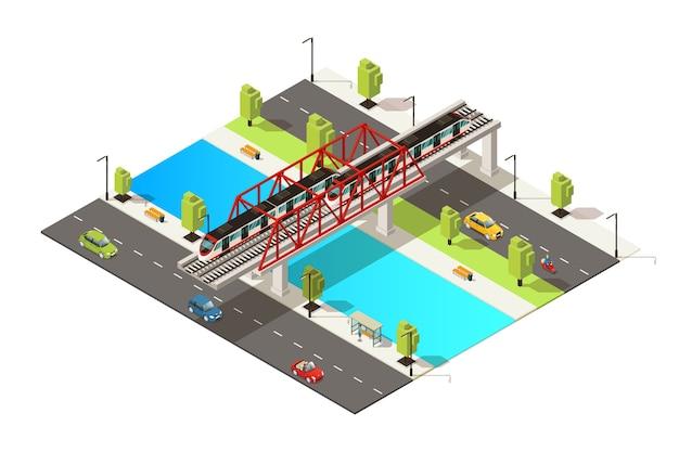 Isometrisch kleurrijk spoorwegvervoerconcept met autoscooter en passagierstrein die over rivier op geïsoleerde brug beweegt