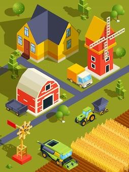 Isometrisch landschap van dorp of boerderij met verschillende gebouwen en landbouwmachines