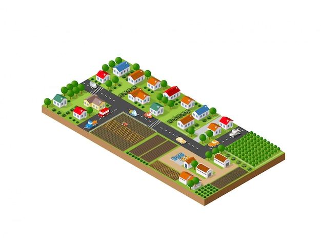 Isometrisch landschap van een kleine stad