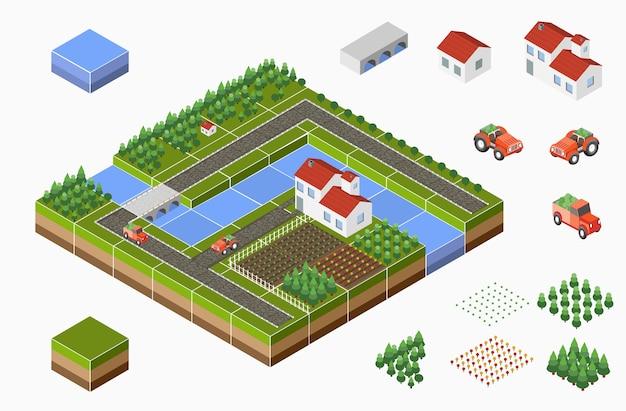 Isometrisch landschap van platteland met boerderij, tractor, oogst, de bedden en de rivier.