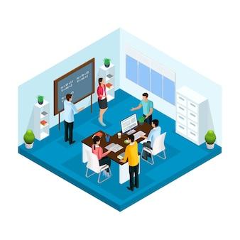 Isometrisch leerproces in universitaire sjabloon met studenten die studeren en brainstormen in geïsoleerde klas