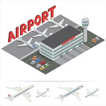 Isometrisch luchthavengebouw. luchthaventerminal met vliegtuigen. reislucht. passagiersvliegtuig. vector illustratie