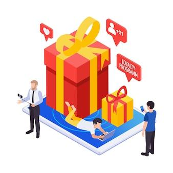 Isometrisch marketingloyaliteitsprogrammaconcept met cadeaus voor volgersklanten