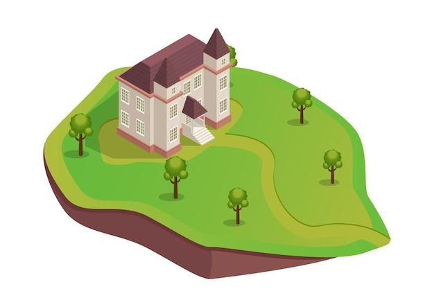 Isometrisch middeleeuws huis op de heuvel met bomen