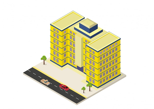 Isometrisch modern gebouw