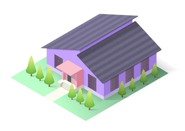 Isometrisch modern huis met bomen