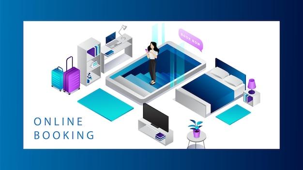 Isometrisch online boekingsconcept