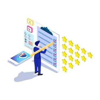 Isometrisch online enquêteconcept met sterbel voor toepassingsproductdiensten