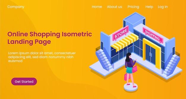 Isometrisch online winkelen illustratie concept, marktplaats, e-commerce, website, mobiele app, bestemmingspagina