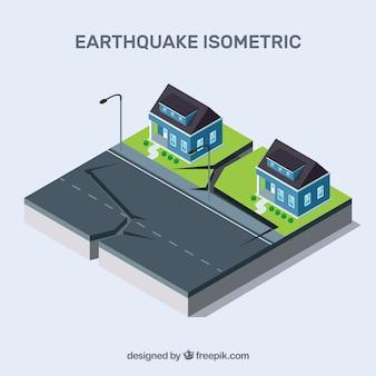 Isometrisch ontwerp met aardbeving op straat
