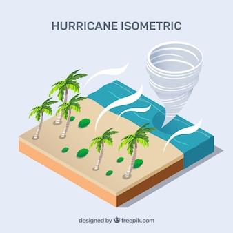 Isometrisch ontwerp met orkaan op het strand