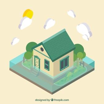 Isometrisch ontwerp met vloed rond huis