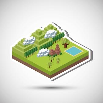 Isometrisch ontwerp natuur. eco-concept, vectorillustratie